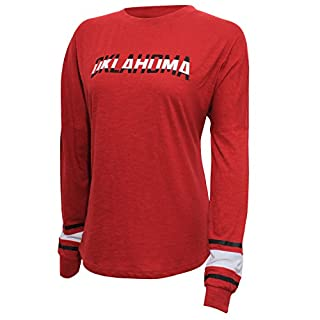 NCAA Oklahoma Sooners Women's Campus Specialties Long Sleeve Fan Tee, Small, Cardinal
