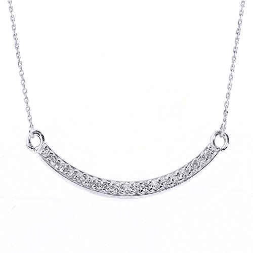 Diamonds 14k 16 Inch Chain - Exquisite Curved Bar Necklace with Diamond in 14k White Gold, 16