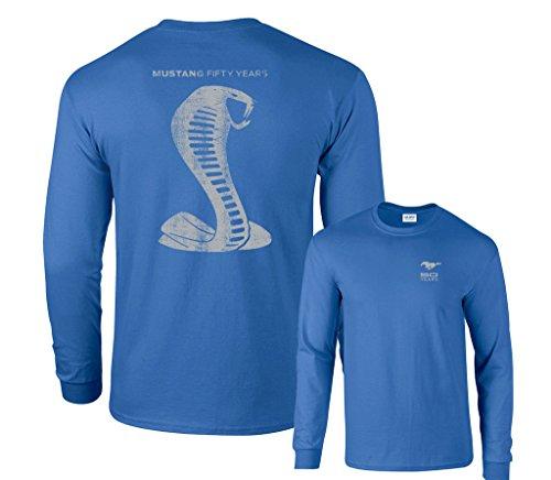 - Fair Game Ford Mustang 50 Years Cobra Long Sleeve T-Shirt-Royal Blue-XL