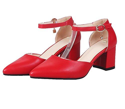 medio Agoolar Sandali tacco Rosso con punta in chiusa Donna Gmxlb009369 Iawa6xpnq