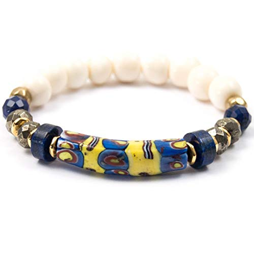 Antique Millefiori Glass Bead Bracelet with Lapis Lazuli - 7 Inches Long Handmade African Trade Bead Elastic Bracelet by Miller Mae Designs