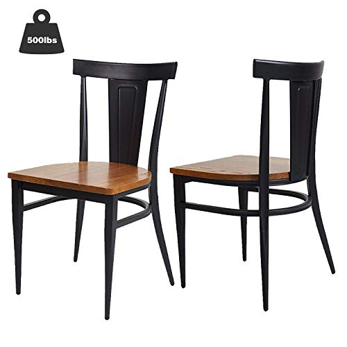 KARMAS PRODUCT 2 Pack Stackable Metal Dining Chairs w/Wood Seat,Indoor/Outdoor Bistro Cafe Side Chairs (Black)