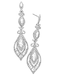 Rosemarie Collections Women's Victorian Art Deco Faceted Crystal Statement Earrings