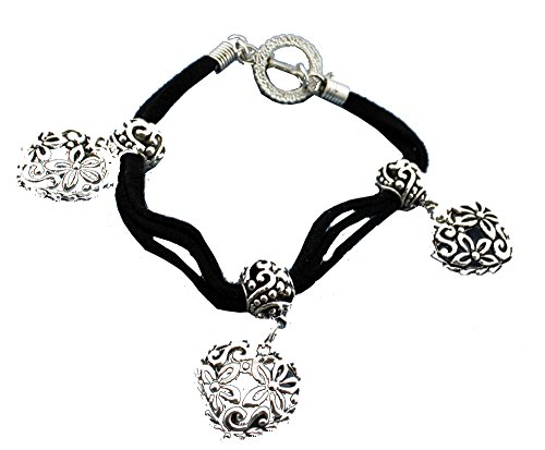 (Boutique Collection Triple Strand Black Suede Heart Pendant Bracelet)