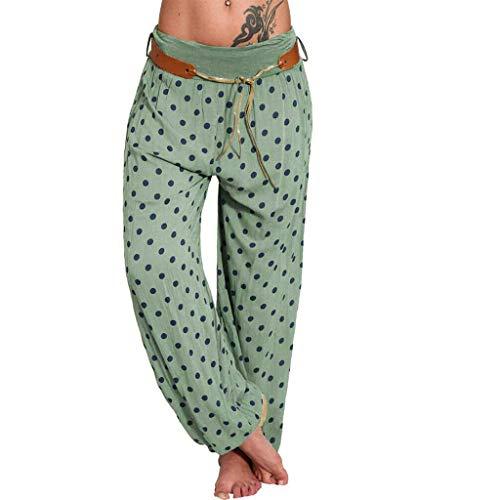 Haalife◕‿ Women Loose Pants Polka Dots Floral Print Boho Yoga Pants Harem Pants Ladies Wide Leg Lounge Pants Army Green (Dvd Trees Lounge)