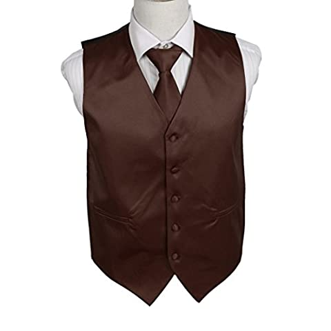 DGDE0006-M Dark Brown Plain Microfiber Business Dress Vests Satin For Father Vest Matching Neck Tie By Dan Smith