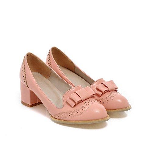 Balamasa Meisjes Instapper Met Lage Hakken Effen Reliëf Leren Pumps-schoenen Roze