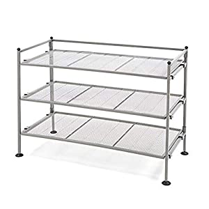 Seville Classics 3-Tier Stackable 12-Pair Shoe Rack Metal Freestanding Storage Shelf for Bedroom, Closet, Entryway, Dorm Room, Satin Pewter Mesh