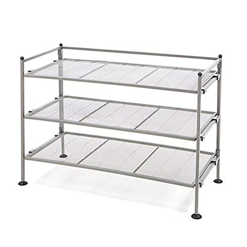 (Seville Classics 3-Tier Iron Mesh Utility Shoe Rack, Satin Pewter)