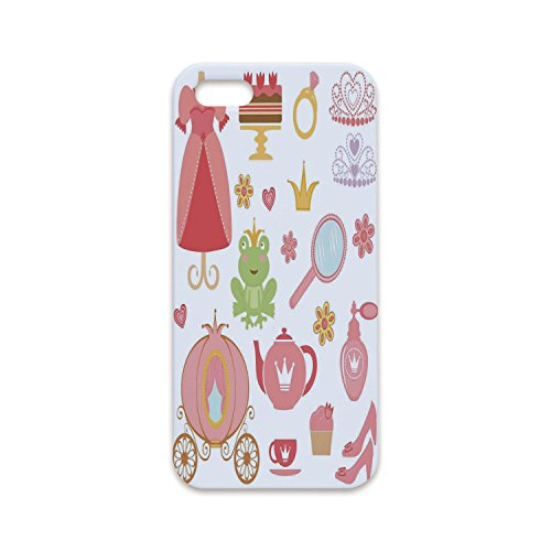 Phone Case Compatible with iPhone6 Plus iPhone6s Plus 3D Print,Kids Decor,Princess Tiara Tea Party Mirror Teapot Tea Party Frog Crown Fairy Cupcake Girls Decorative,Customized Phone (Tiara Flat Cup)