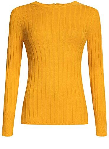 oodji Collection Mujer Jersey con Elástico Ancho y Cremallera en la Espalda Amarillo (5200N)