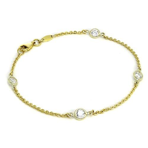 Bracelet en Or Jaune 9 Carats et Oxydes de Zirconium