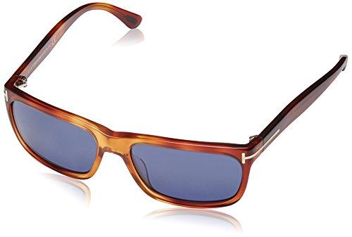 Tom Ford FT0337 Hugh Square Havana Tortoise Blue TF337 52B 55 mm Sunglasses - New Sunglasses Tom Ford