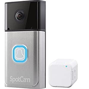 SpotCam Video Doorbell Pro, Wi-Fi Enabled, Battery Powered Wire-Free, HD 1080P w/ 180 Degree Viewing Angle, Compatible…