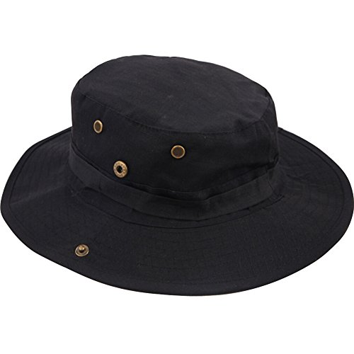 Men's Tactical Outdoor Activties Fishing Camouflage Military Boonie Hat Net Cap (Black)