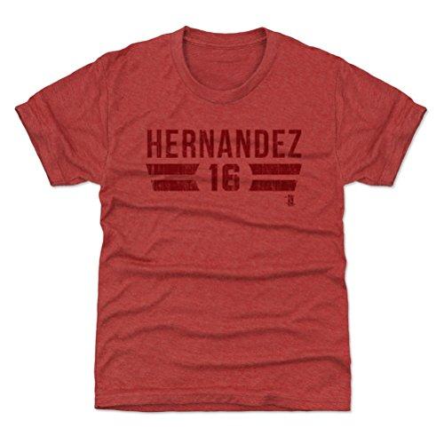 500 LEVEL Philadelphia Baseball Youth Shirt - Kids Small (6-7Y) Tri Red - Cesar Hernandez Philadelphia Font R