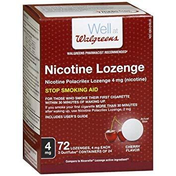 - Walgreens Nicotine Lozenge, 4mg, Cherry, 72 ea