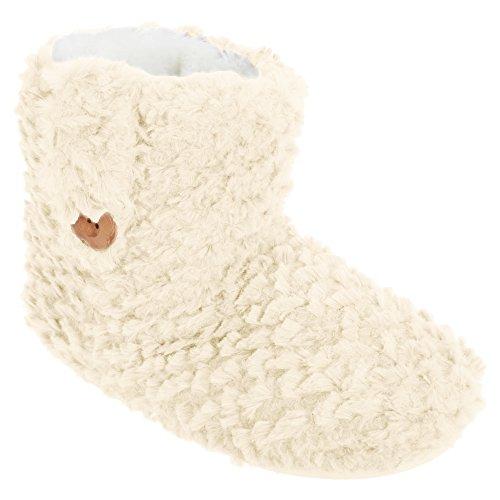 Universal Textiles Womens/Ladies Faux Fur Button Detail Slipper Boots Cream K8ol7s