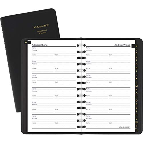 AT-A-GLANCE Undated Telephone and Address Book, Black, 3.75 x 6.13 Inches (80-201-05)