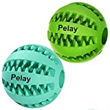 PELAY Dog Ball Toys Pet Tooth Cleaning/Chewing/Playing,IQ Treat Ball Food Dispensing Toys 2 Non-Toxic Soft Rubber Ball