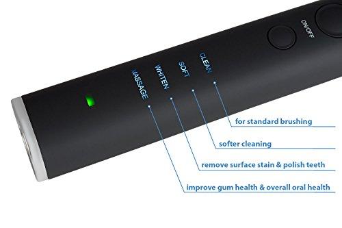 SoniClean Black Series Whitening ToothBrush - Ultra Sonic 40,000 VPN Motor - 4 Modes - Rechargeable ToothBrush - 8 Dupont Brush Heads & Dental Kit Included