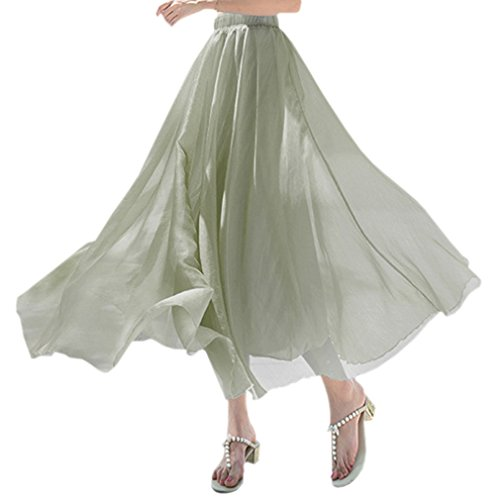 WDPL Women's Ankle Length Summer Chiffon Retro Solid Beach Skirt (Medium, Light (Solid Chiffon Skirt)