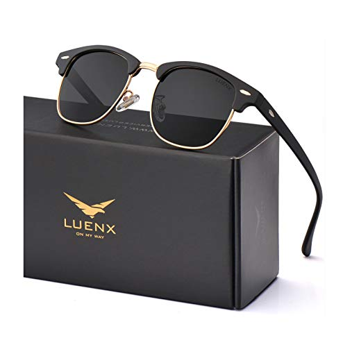LUENX Men Women Semi Rimless Polarized Sunglasses:UV 400 Protection 51MM with Case (23 Black(Matte Frame)/Non-Mirror, 51)
