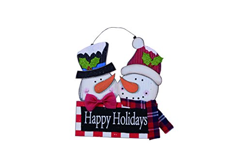 Happy Holidays Sign (Rustic Wood Snowman Happy Holidays Sign Hanging Christmas Decoration)