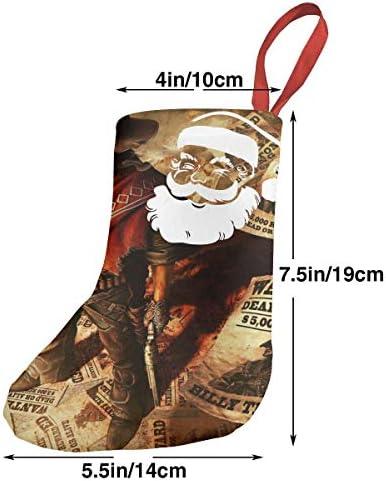 クリスマスの日の靴下 (ソックス3個)クリスマスデコレーションソックス 西部のカウボーイポスター クリスマス、ハロウィン 家庭用、ショッピングモール用、お祝いの雰囲気を加える 人気を高める、販売、プロモーション、年次式