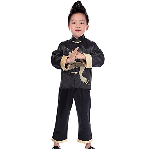 (Treasure-box Cute Boys Satin Dragon Tangzhuang Chinese Kungfu)