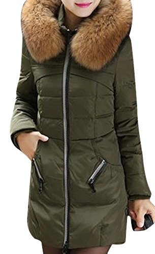 VonFon Womens Elegant Slim Fit Mid Long Down Coat Parka With Faux Fur Trim Army green M