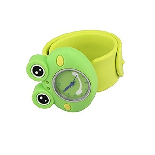 Cute Cartoon Slap Watch Frog Design with Bendable Silicone Strap Wristwatches For (Bendable Frog)
