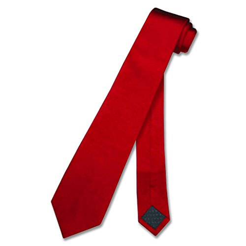 SILK Narrow NeckTie Skinny RED Thin Men's 2.5