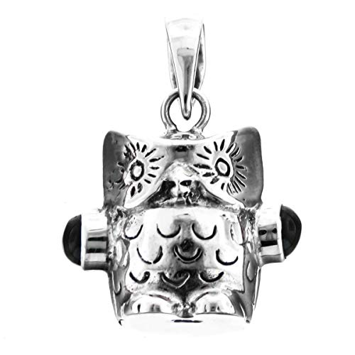 1'' Design Bird OWL Onyx 925 Sterling Silver Pendant YE-1224 ()