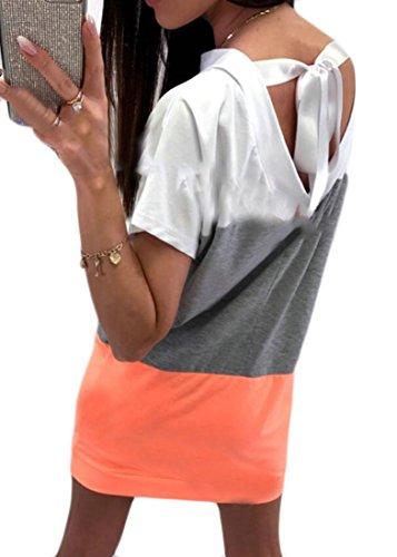 Bloc De Couleur Dos Nu Féminin Domple Manches Courtes Cordonnet T-shirt Robe De L'orange