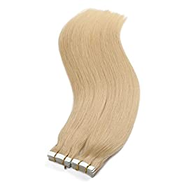 40Pcs 100g Per Set Pu Tape Hair Extensions Skin Weft Tape in Human Hair Extensions (16inch,Color 613#)