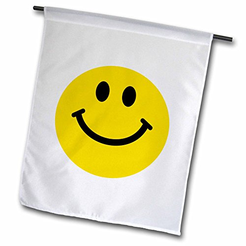 3dRose fl_76653_1 Yellow Smiley Face Cute Traditional Happy Smilie 1960S Hippie Style Smiling on White Garden Flag, 12 by 18-Inch