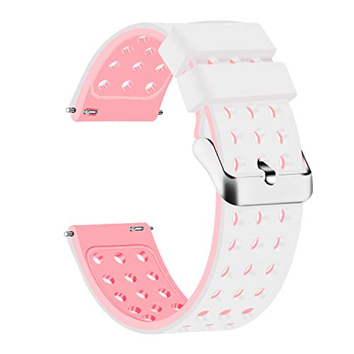Lwsengme Silicone Quick Release - Choose Color & Width (18mm, 20mm,22mm) - Soft Rubber Watch Bands (White/Pink, ()