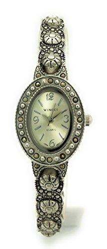 Ladies Elegant Oval Modern Antique Metal Link Bracelet Fashion Watch Wincci (Silver)