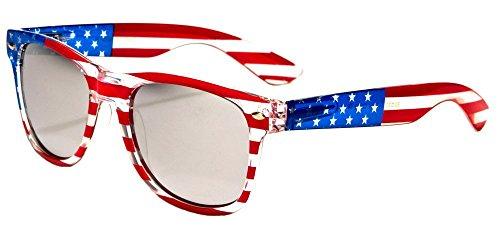 V.W.E. Classic American Patriot Flag Wayfarer Style Sunglasses USA (Clear Frame Silver Mirror)