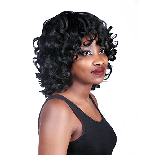 Search : YIMANEILI Short Curly Wigs for Black Women - African American Curly Short Wigs Natural Looking Heat Resistant Wigs with Wig Cap (3#)