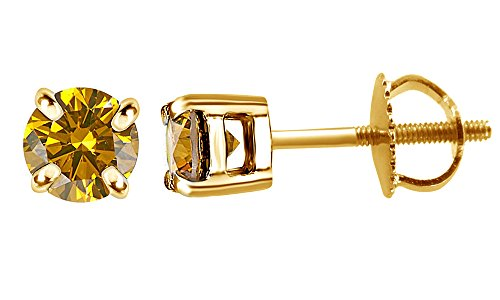 (Natural Canary Yellow Natural Diamond Solitaire Stud Earrings In 14K Solid Yellow Gold (0.30 Ct))