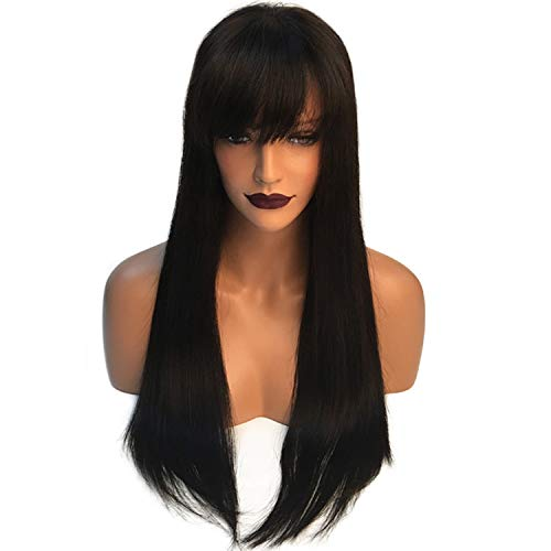 Lace Front Human Hair Wigs With Bangs Straight