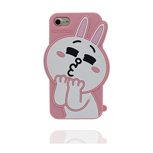 iPhone 7 Custodia (4.7), [ TPU flessibile 3D coniglio ] Case Copertura per iPhone 7 (4.7), rosa Polvere di scorrimento antigraffio, Soft Copertura & tappi antipolvere