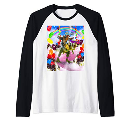 Sloth Riding Dinosaur With Sundae And Jelly Beans Raglan Baseball Tee