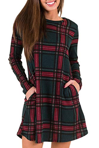 MIROL Women's Long Sleeve Plaid Color Block Diamond Casual Swing Loose Fit Tunic Dress with Pockets (S, Green) (Christmas Dresses And Green Red)