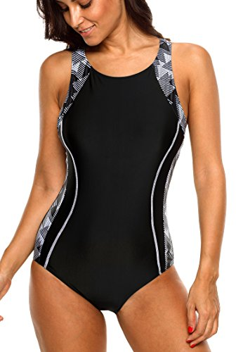 (Womens 1 pc athletic swimsuits one piece sport bathing suits pro swimwear, Black, Large)