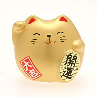 Kotobuki Maneki Neko Charm Kai-un Collectible Figurine, Fortune, Gold