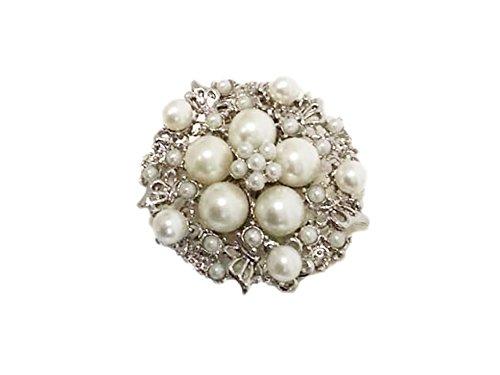 La Loria Damen 2 Schuhclips -Shining Flower- aus Acrylperlen in Weiß-Silber Schuhschmuck Broschen