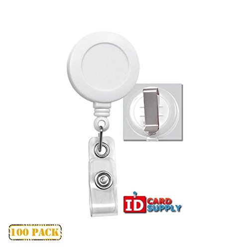 100 x White Badge Reel With Clear Vinyl Strap & Belt Clip